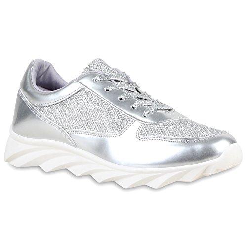 Damen Schuhe Laufschuhe Sneaker Runners Profilsohle Silber