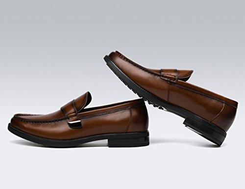 Zapatos De Cuero Para Hombres Zapatos De Cuero Para Hombres Zapatos Ocasionales De Tapa Redonda Zapatos British Tide Lounger (color: Amarillo-marrón, Tamaño: Eu43 / Uk8) Amarillo-marrón
