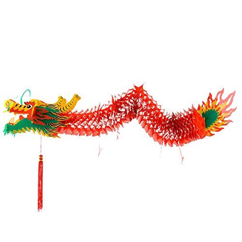 MAXMIKO Hängende Drache Dekoration 3D handgemachte traditionelle chinesische Neujahr Party Papier Drache Hanging Paper Decor für Laternenfest (65 Zoll)