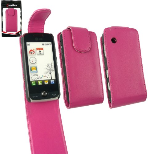 Emartbuy Value Pack Für LG GS290 Cookie Fresh Premium Pu-Leder Flip Case / Cover / Tasche Pink + Kompatiblen Micro Usb Auto Ladegerät + Lcd Screen Protector