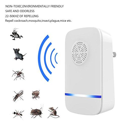 BZLine® Ultraschall-Abwehrmittel - Premium Scaccia Anti-Moskito Tropical Mäuse - Abwehr gegen Parasiten Ratten Fliegen Kakerlaken Spinnen Ameisen Ameisen Fliegende Kakerlaken Anti-Mücken Tiger