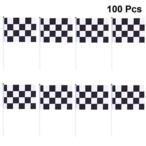 Zielflagge mit Stick für Rennwagen Party Sport Events ()