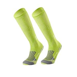 LIOOBO Unisex Lange Sportsocken Sportkompressionssocken Lange Beinsocken für den Laufsport Wandern Flugreisen (grün für 35-38 Yard)