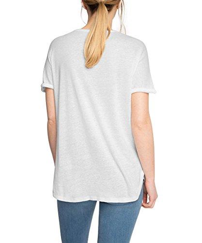 Esprit 056ee1k009-Zier-Chest Pocket, T-Shirt Femme Blanc (WHITE 100)