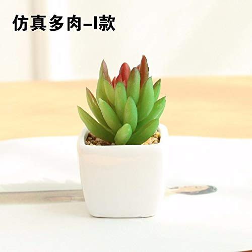 Dolo Fake Blume Hochwertig Kunstblume Sukkulent Topfdekoration Tischaccessoires Kunststoff Green Red Square Ceramic Flower Pot -