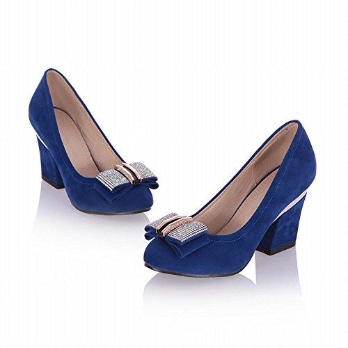 Mee Shoes Damen chunky heel Strass Nubukleder Wedge Pumps Blau