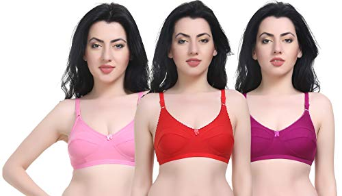 FD Women's Cotton Nylon Mix Full Coverage Non-Padded Casual Simple Bra - Combo of 3