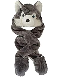 Kids Boys/Girls Childrens Animal Faux Fur (NOT real fur) Head Trapper Hat Hood Scarf Snood Gloves See Listing For Options One Size