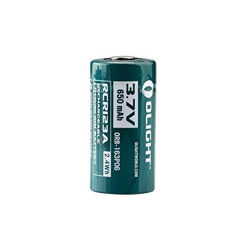 Olight® 16340 RCR123A Akkus Lithium-ion wiederaufladbar Batterie 3.7V 650mAh - 2-er Pack (original und geschützt) - 2