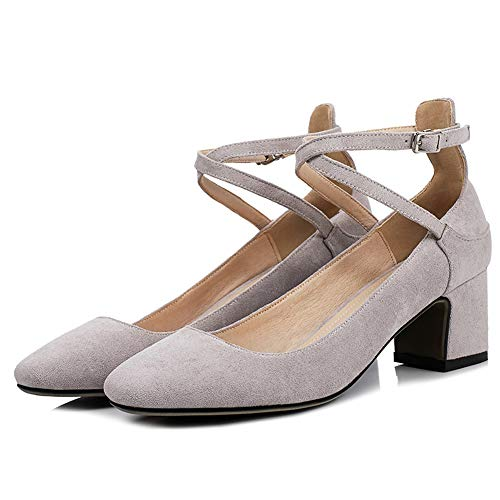 Rex rabbit-SS Womens Stiletto Gericht Schuhe Niedrigen Ferse Sandalen Kleid Party Pumps Mary Jane Schuhe Abend Party Prom Sandalen,Gray,43