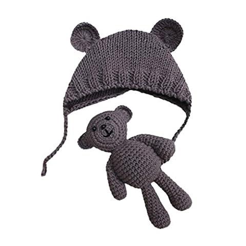 Babybekleidung Hüte & Mützen Longra Baby Mädchen Jungen Fotografie Stütze Mützen Foto Häkeln Strick Kostüm Bär + Hüte Set(0-6Monate) (Bären-kostüm Für Baby)