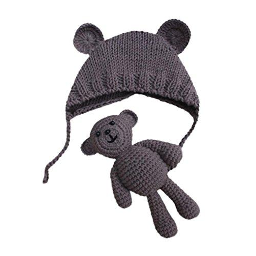 Babybekleidung Hüte & Mützen Longra Baby Mädchen Jungen Fotografie Stütze Mützen Foto Häkeln Strick Kostüm Bär + Hüte Set(0-6Monate) (Khaki)