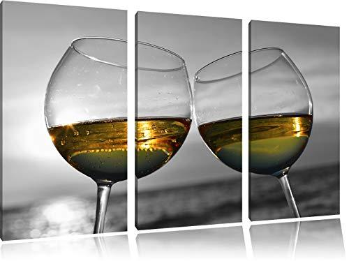 Wein in Gläsern am Meer schwarz/weiß 3-Teiler Leinwandbild 120x80 Bild auf Leinwand, XXL riesige Bilder fertig gerahmt mit Keilrahmen, Kunstdruck auf Wandbild mit Rahmen, günstiger als Gemälde oder Ölbild, kein Poster oder Plakat