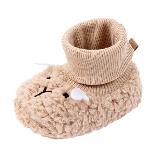 HDUFGJ Unisex-Baby Winterschuhe Baumwollstiefel Socken Schuhe Neugeborenes Fleece Booties Schneeschuhe Cartoon Baumwollanhänger-Kinderhausschuhe, rutschfeste Sohle, Flexibel, Ideal6-12Months(Khaki)