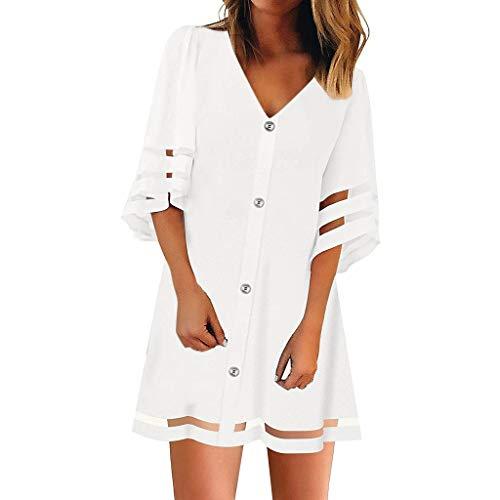 TEFIIR T-Shirt für Frauen, Oktoberfest, Leistungsverhältnis V-Ausschnitt Mesh Panel Bluse Loose Top mit Knöpfen Hemdkleid Geeignet für Freizeit, Dating, Strandurlaub -