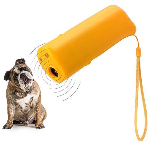 WIRSV 3 in 1 Ultraschall Hunde Antibell, Hund Anti Bellen Anti Bell mit LED Taschenlampe, Hunde Bellen Abgewoehnen Stopper, Hunde Abschreckung Antibellen, Orange
