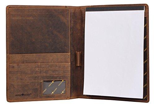 Greenburry Vintage Leder Schreibmappe DIN A4 braun Konferenzmappe Leder - 32 x 25 x 2 cm