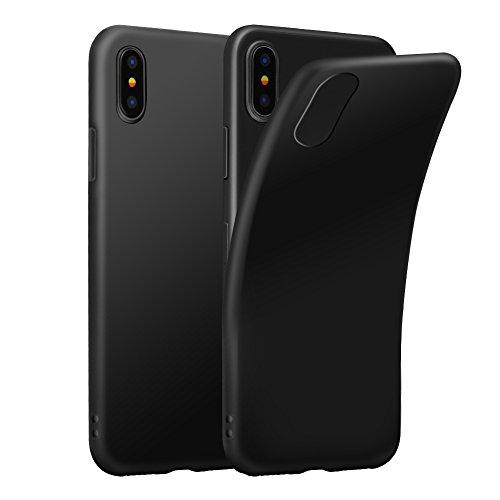 Funda iPhone X, Eouine Ultra Slim Carcasa de Solicona Suave TPU, Transparante Funda Case Cover para Apple iPhone X 2017 5.8-inch Smartphone (Negro)