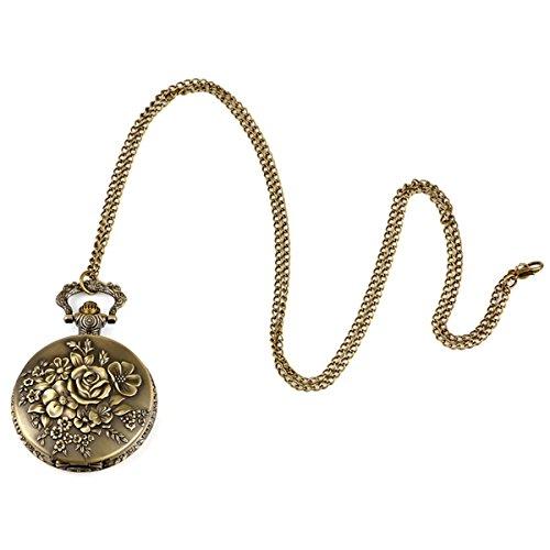 e384030a8eae NICERIO Reloj de Bolsillo Antiguo Vintage con Cadena Reloj Collar con  Colgante Flor