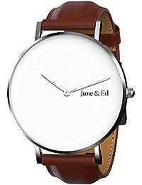 June & Ed Cuarzo Acero Inoxidable Correa Reloj de pulsera para Hombre con la ventana del dial de cristal de zafiro W-0030