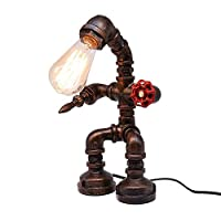 MiYan Vintage Industrial Iron Water Pipes Table Lamp for Bedside Desk (Robot Steampunk)