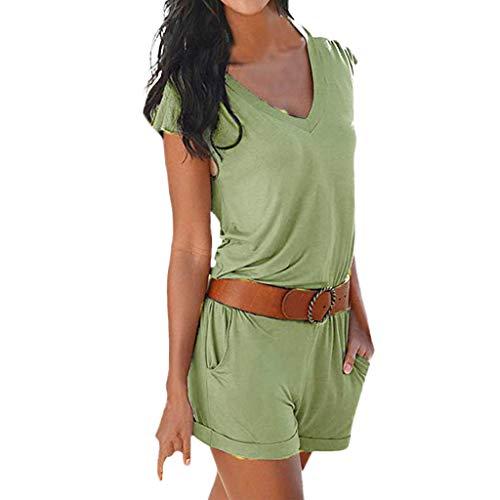 feiXIANG Damen Kurzarm Jumpsuit V-Ausschnitt Elegant Spielanzug Shorts Sommer Holiday Beach...