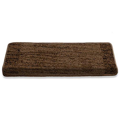 Edle Stufenmatte | braun getigert | 320.000 Fasern pro qm | Qualitätsprodukt aus Deutschland | kombinierbar mit Läufer | 65x23,5 cm | rechteckig | einzelne Matte