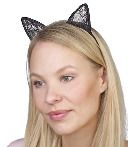 SIX Haarreif: Haarschmuck für Halloween/Fasching/Karneval, rutschfest, Katzenohren mit feiner Spitze, Durchmesser ca. 12 cm, schwarz (315-743)