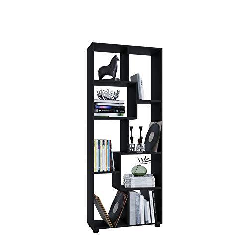 AISEN Regal PISA A mit 8 Fächern, Farbe Schwarz, Maße 66 x 164 x 25 cm