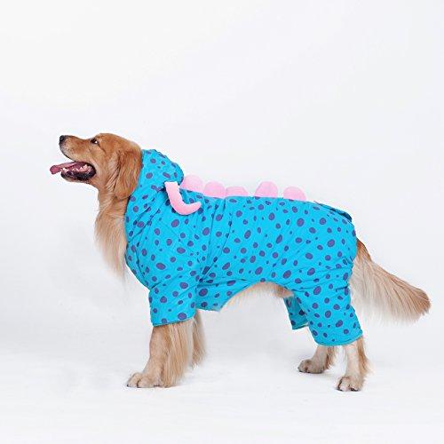 Pet Plüsch Outfit Dinosaurier Kostüm mit Kapuze für Hunde Overall Winter Mantel Warm Kleidung