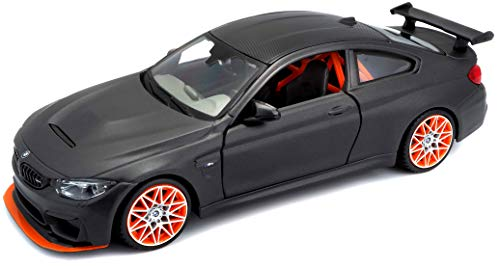 Maisto BMW M4 GTS: Originalgetreues Modellauto 1:24, mit Abgasanlage, bewegliche Türen, Koffer-/Motorraum zum Öffnen, 20 cm, grau (531246)