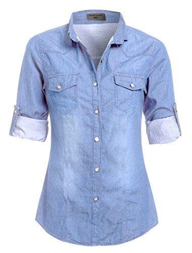 SS7 Nouvelles Femmes Chemise En Jeans, Grande Tailles 42 - 20 Bleu Jean Clair