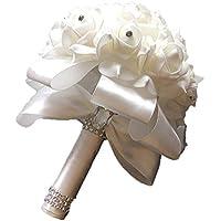 Hilai de Novia con Flores Novia Ramo Mano Que sostiene la Cinta Hermosa con Artificiales Flores de Seda Blanca de la Boda para la Novia