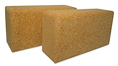 Yoga Block Kork, Yoga Klotz 2 Stück (2 Yoga Blöcke / Klötze) XXL aus 100% Naturkork 227x120x75 mm (2er-Set / Doppelpack /zwei Stück, extra groß, Joga)