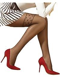 Marilyn transparente Strumpfhose mit Herzchenmotiv im Overknee look, 20 Denier