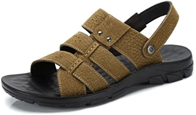 GRRONG Herren Sandalen Für Den Sommer Bequeme Mode Personalisierte Hausschuhe Verschleißfeste Anti Rutsch Leder