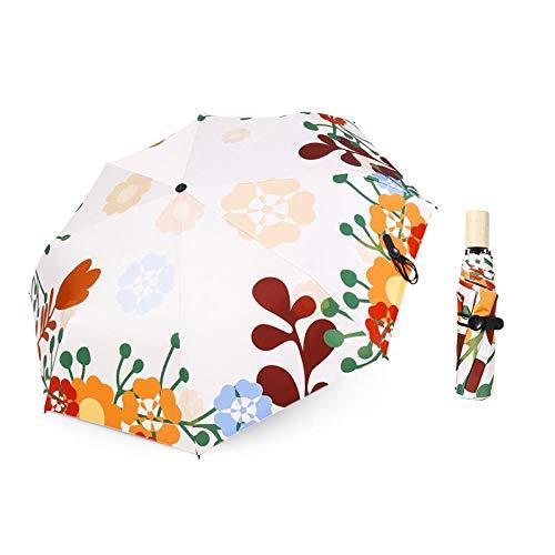AJIAO Paraguas Protección Solar Protección Ultravioleta Paraguas Plegable para la Lluvia Mango de Madera Paraguas Solar Lluvia Paraguas de plástico Negro Hembra, Paraguas B
