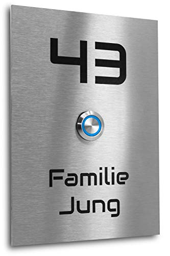 Edelstahl Klingelplatte New York XL Größe 170 X 120 X 3 mm V2A Edelstahl Gravur LED Taster (blau) Edelstahlklingel Haustürklingel Klingel Türklingel
