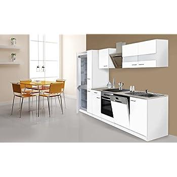 respekta Küche Küchenzeile Küchenblock 310cm weiß weiß Kühlkombi ...