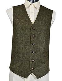 Gilet Sans Manche en Laine Mélangée Tweed Vert - Homme