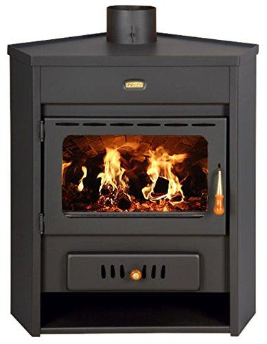 Estufa de leña con caldera esquina modelo de combustible sólido chimenea Prity...