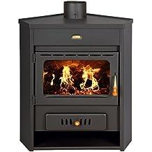 Estufa de leña con caldera esquina modelo de combustible sólido chimenea ...