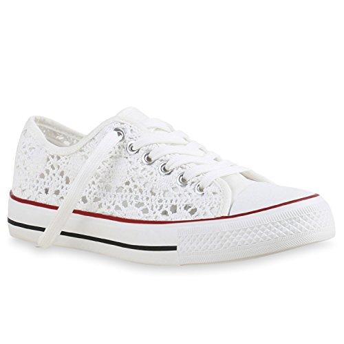 Sportliche Damen Sneakers Metallic Schnürer Sneaker Low Spitze Blumen Denim Stoff Flats Schuhe 142137 Weiss Rote Streifen 37 Flandell