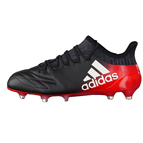adidas X 16.1 Leather Fg, Chaussures de Futsal Homme Multicolore (Cblack/ftwwht/red)