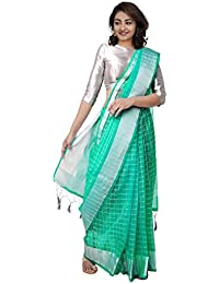 Unnati Silks Women Banarasi Kota Checks Saree with blouse piece from the Weavers of Rajasthan (UNM31138+Green+Free size)