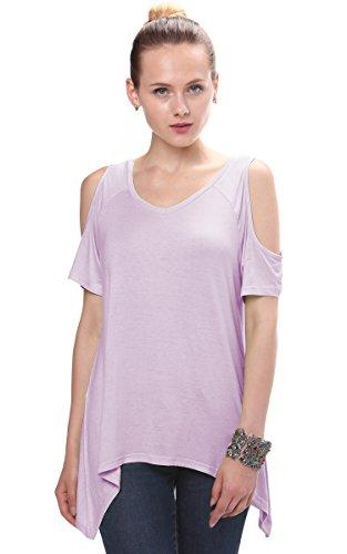 Urbancoco Damen Vogue Schulterfrei unregelmäßige sidetale Tunika Top Shirt Mauve