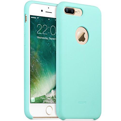 iPhone 7 Plus Hülle (5,5 Zoll), ESR® Liquid Silikon Schutzhülle mit Apple-Logo Loch Stoßdämpfung Flüssigsilikon Hülle für iPhone 7 Plus (Grau) Grün