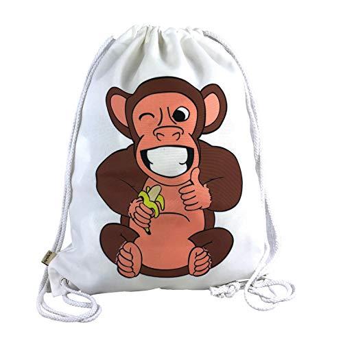 MyMonkey Turnbeutel Unisex mit coolem Affen Motiv - für Kinder und Erwachsene| für Kindergarten, Krippe, Reise, Sport, Festival | geeignet als Gymsack, Rucksack, Spieltasche, Sportbeutel, Schuhbeutel