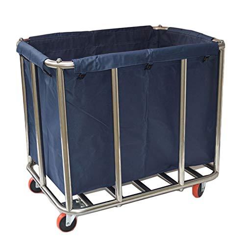 HH- Wäschesortierer Faltbarer Wäschewagen-Warenkorb-Korb Auf Rädern Mit Dauerhaften Abnehmbaren Gewebetaschen, Wäscherei-Sortierer for Badezimmer- / Zimmerservice-Auto (Color : Blue) -