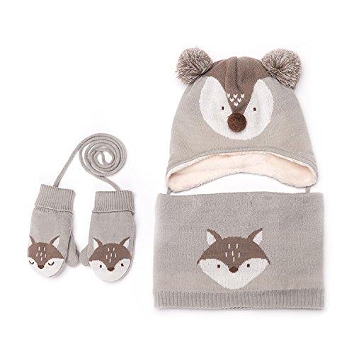 Conjunto de invierno para bebé, de punto, manoplas, gorro y bufanda
